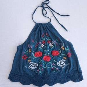 Kimchi Embroidered Halter Top
